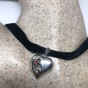 Jewelry - Vintage 925 garnet Marcasite heart locket pendant